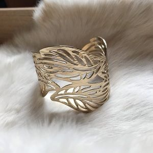 Yellow gold metal leaf cuff